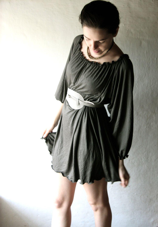 Tunic dress medieval tunic long sleeved dress winter dress olive
