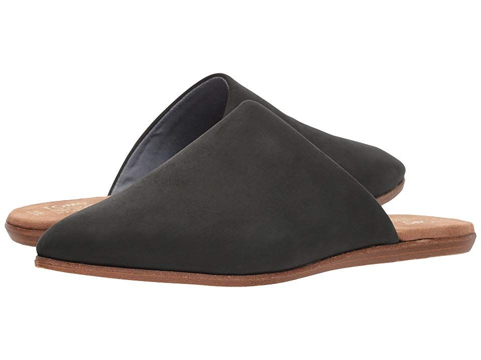 TOMS Jutti Mule Black Leather Womens Slip on Shoes With every pair of shoes you purchase TOMS will give a new pair of shoes to a child in need One for One The casually ch...