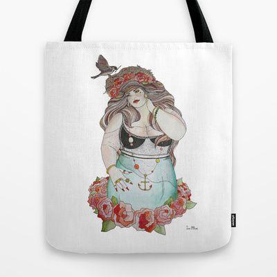 Lady Sparrow Tote Bag by Tara O Brien Illustration - $22.00