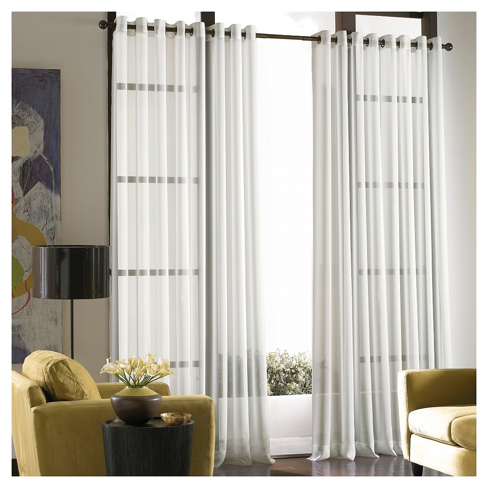 120 X59 Soho Grommet Top Sheer Curtain Panel Silver Curtainworks White Paneling Sliding Glass Door Curtains Panel Curtains