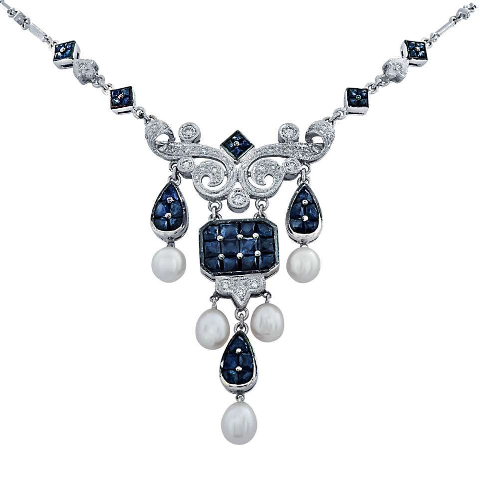 Sapphire Diamond Pearl White Gold Necklace Gold necklaces