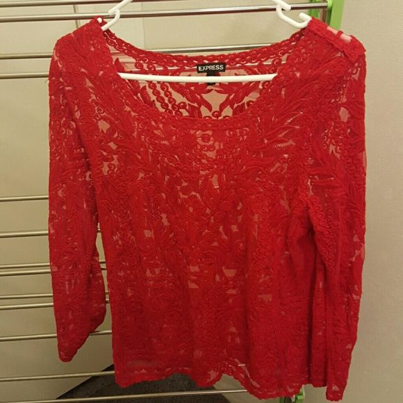 Express sz med lace top Perfect for Vday Express Lace Top sz med..Red perfect for valentines day Express Tops Tees - Long Sleeve