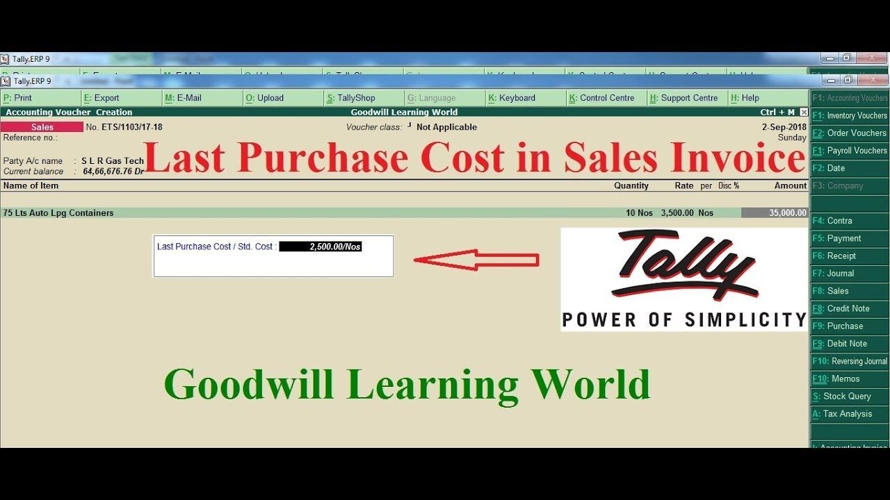 Amazing Tally TDL for Last Purchase Cost in sales Voucher
