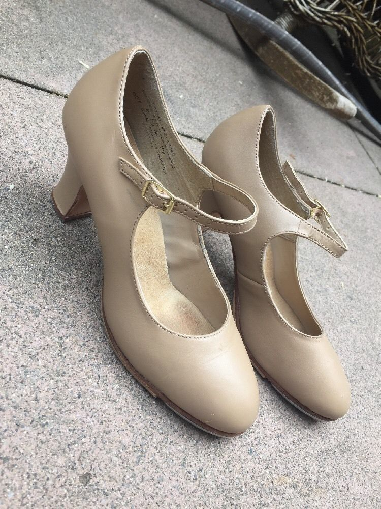 CAPEZIO Tele Tone Tap Dance Shoes tan Leather Mary Jane Heels Womens sz 8.5 M  | eBay