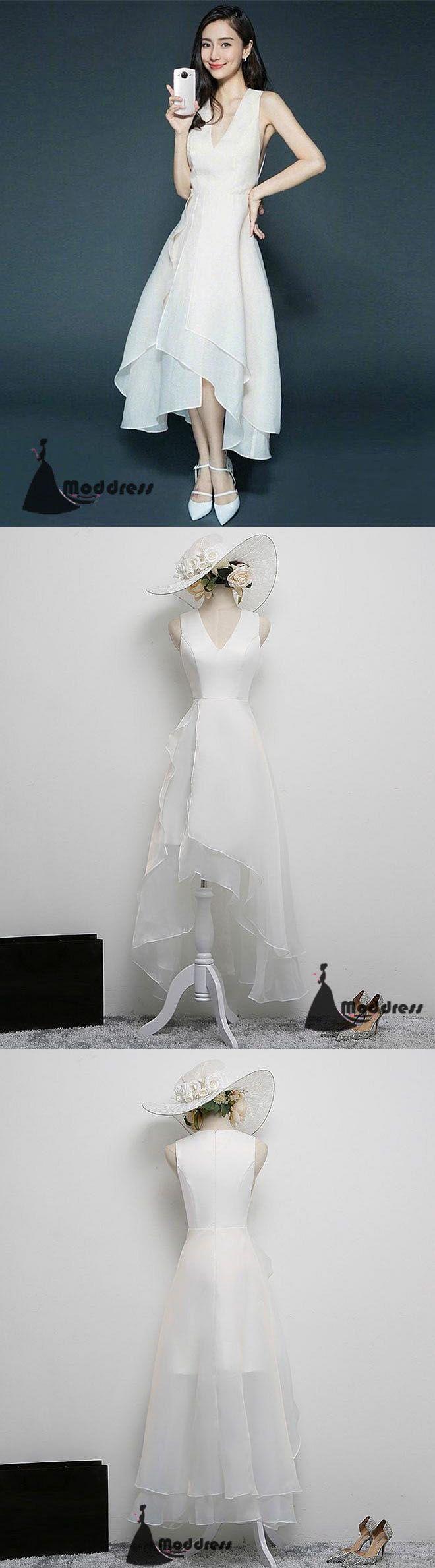 Simple short prom dress vneck white evening dress formal dress