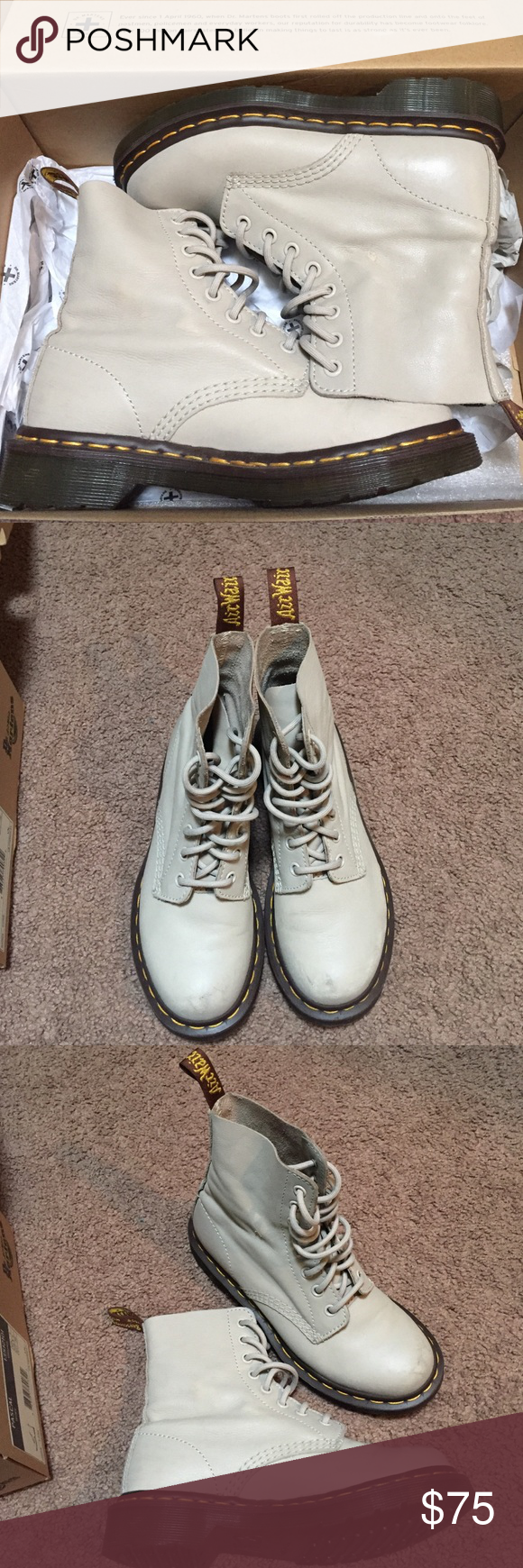 Dr. Martens Pascal (Ivory) Barely used, not fully broken in. Great condition minus a few scratches. Come in original box. Dr. Martens Shoes Combat & Moto Boots