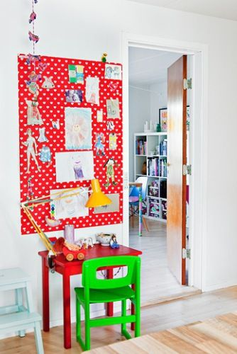Bulletin board dressed in fabric