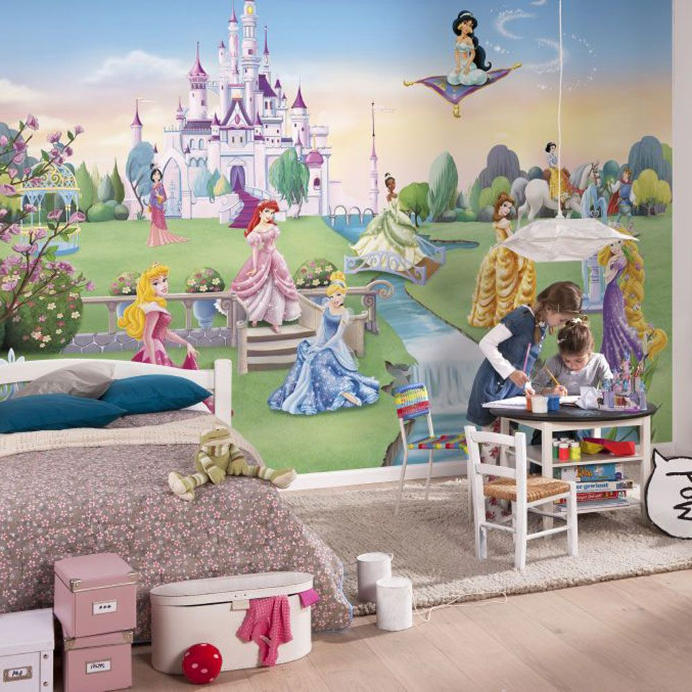 Disney princess 39 castle 39 photo wall mural 368 x 254 cm for Castle wall mural