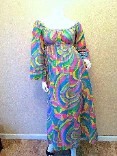 8cdbdab6b91 60s Laugh-In Hippie Dress Size Small. Long Rainbow Maxi Dress. Mod ...