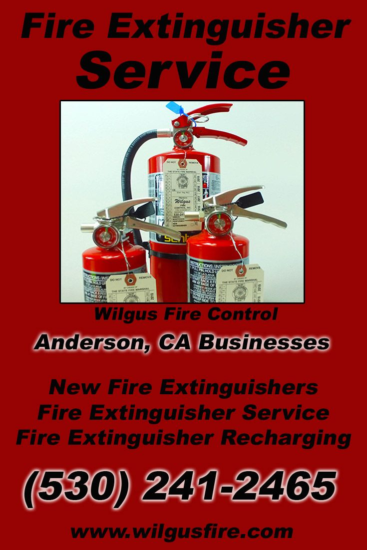 Fire Extinguisher Service Anderson, CA (530) 241-2465 We're Wilgus Fire Control. Call Today and Discover the Complete Source for all Your Fire Protection!