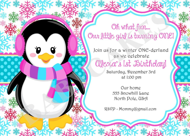 Winter ONEderland Birthday Party Invitation Invite Pink Blue Aqua ...