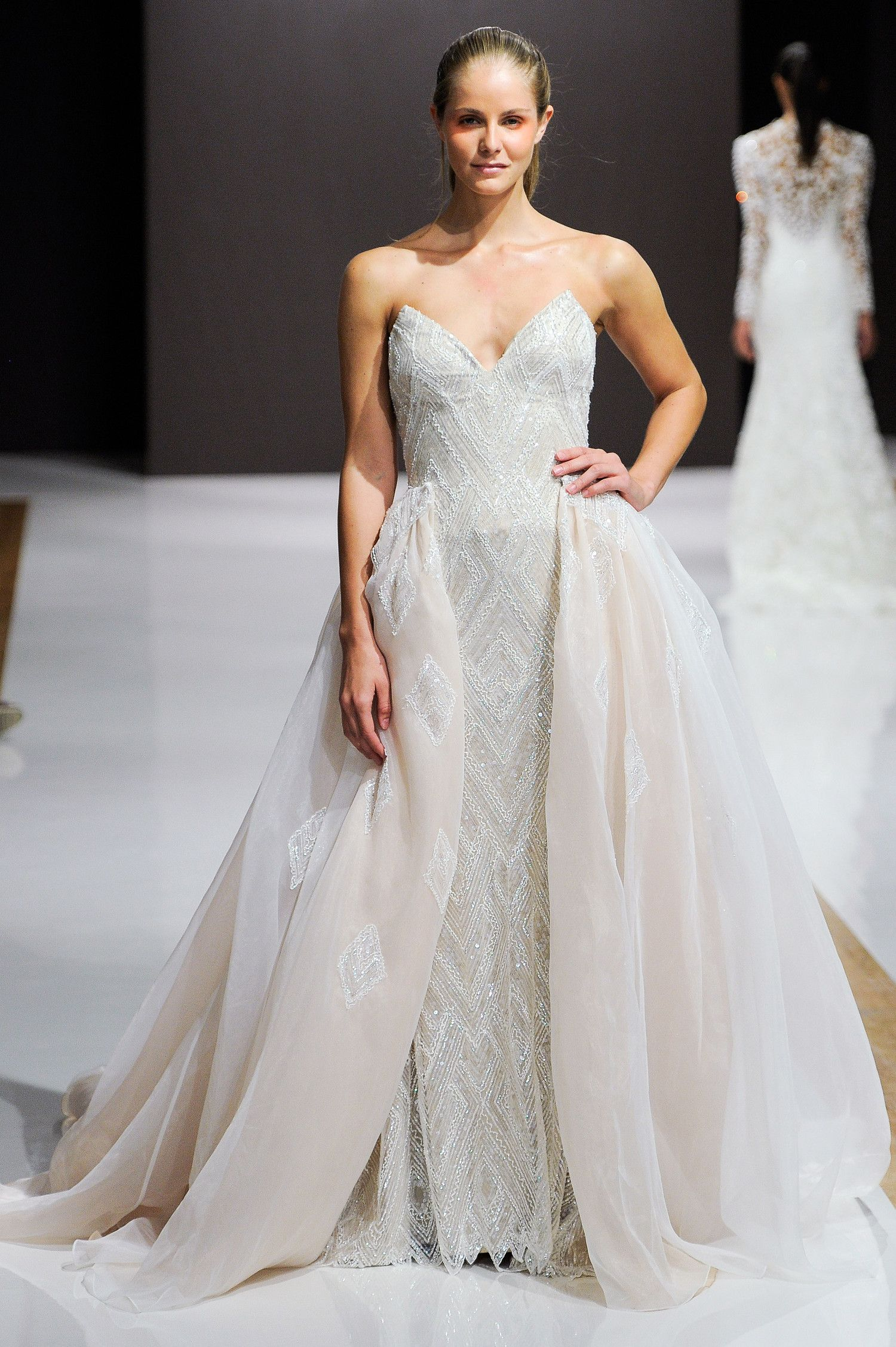 Ivory strapless A-line wedding dress with V-neckline, crystal ...