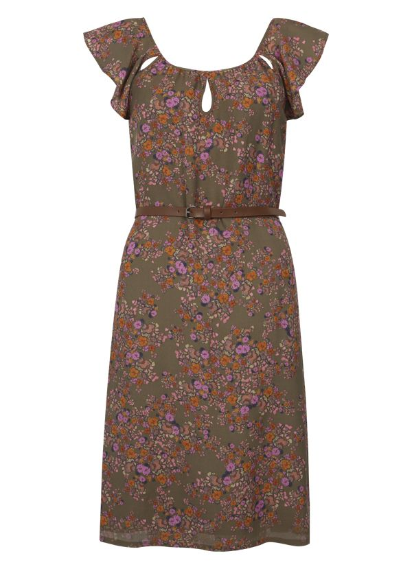 Lynette Print Silk Mix Dress with Tie in Cactus