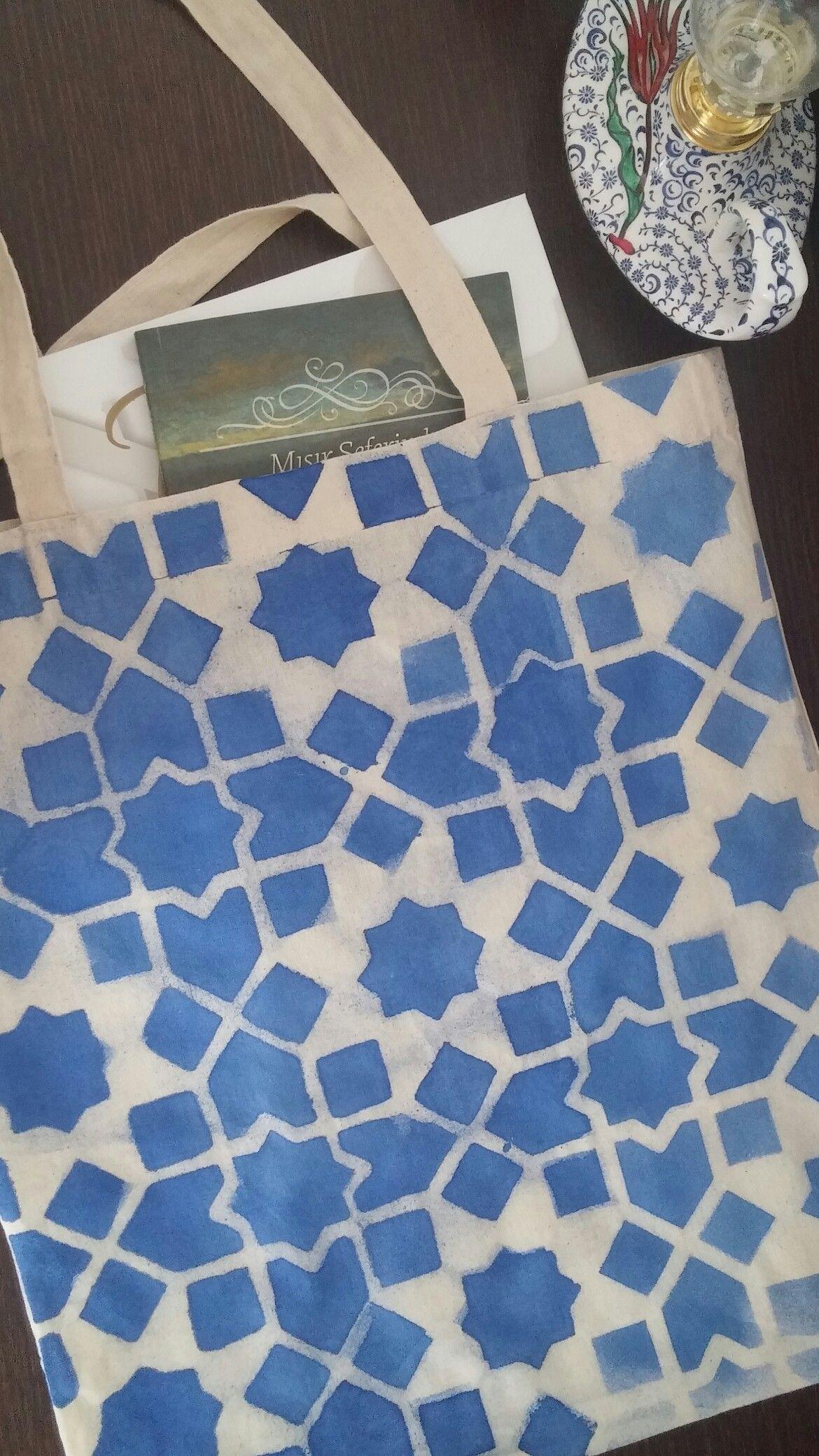 Kumaş Boyama Kanvas çanta Geometrik Desen By Baybice Works Decor