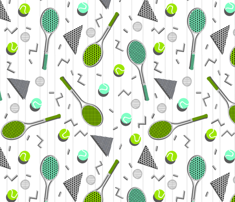 Tennis Lesson - White by Andrea Lauren fabric by andrea_lauren on Spoonflower - custom fabric