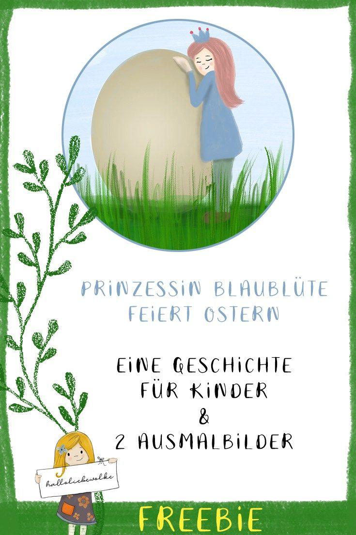 Prinzessin Blaublüte feiert Ostern (Lerngeschichte mit Ausmalbildern ...