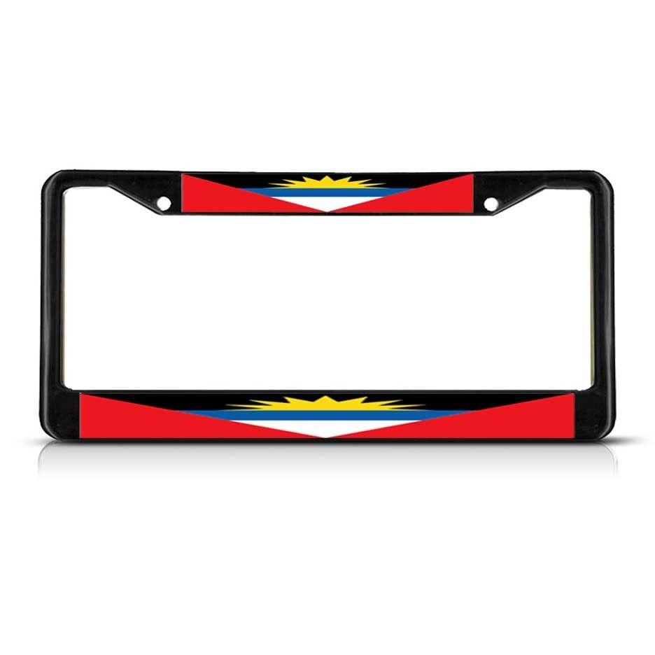 License Plate Frame Mall - ANTIGUA AND BARBUDA FLAG Black Metal Heavy Duty License Plate Frame Tag, $17.99 (http://licenseplateframemall.com/antigua-and-barbuda-flag-black-metal-heavy-duty-license-plate-frame-tag/)