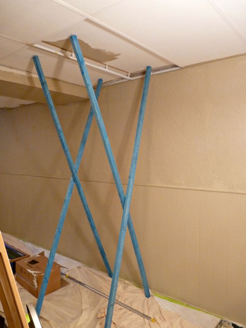 My trick for painting the drop ceiling in the basement for How to paint a ceiling