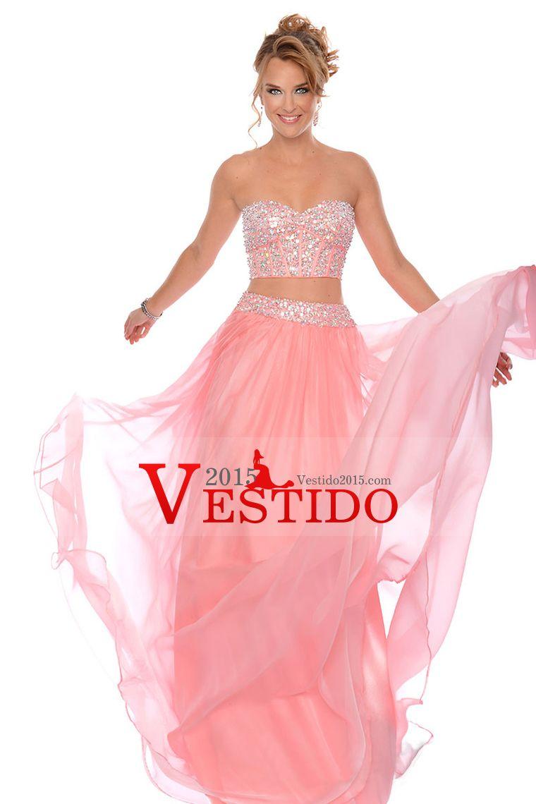 2015 Dos Piezas Una línea de vestidos de baile de cariño piso ...