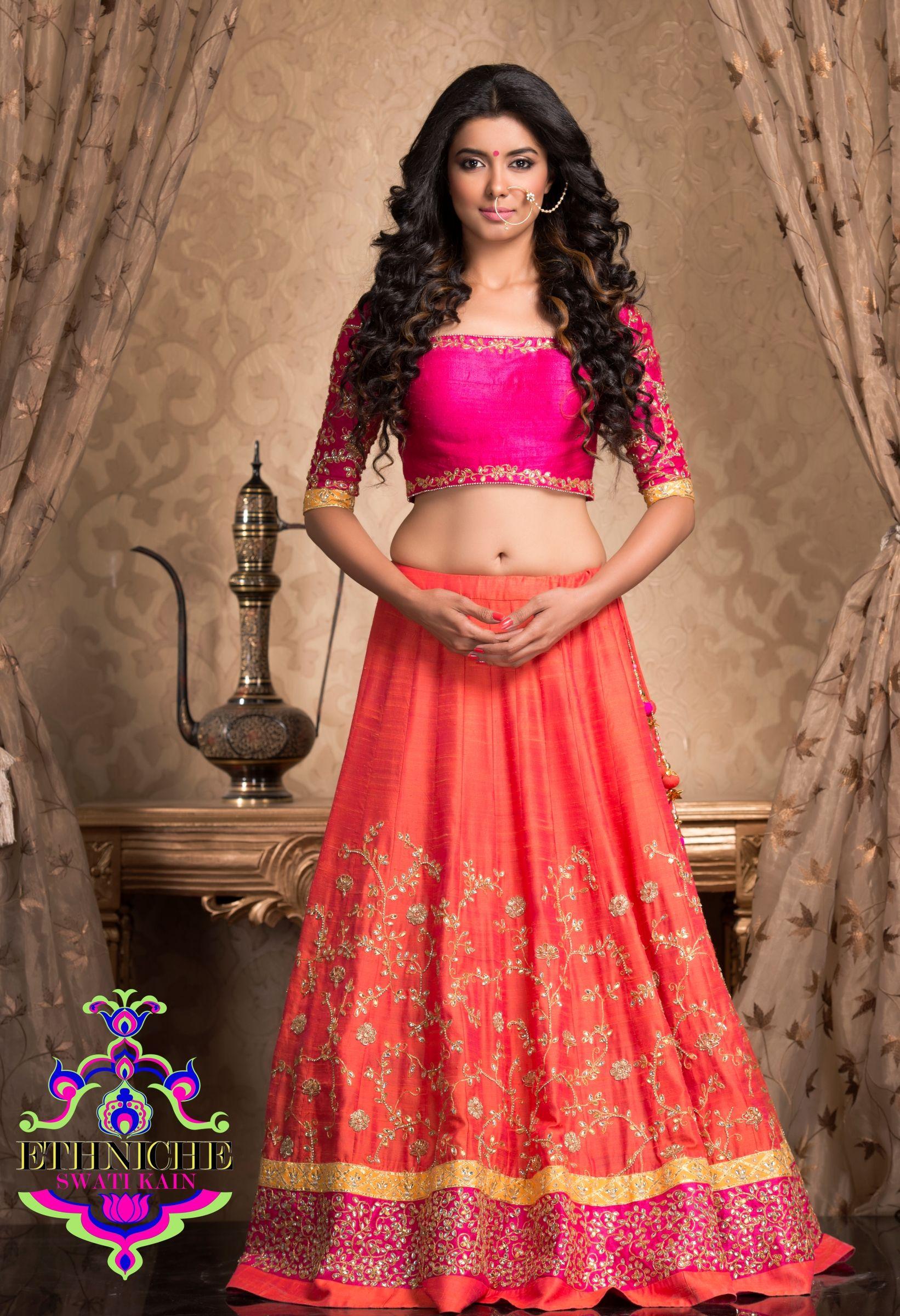ae1af1eb88 Gota patti raw silk lehenga: Richa Sony for Ethniche | Ethniche ...