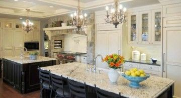 Kitchen Island Inspiration Beautiful Glass Chandeliers Also White Marble Countertops With Black Metal Dining Chairs Wooden