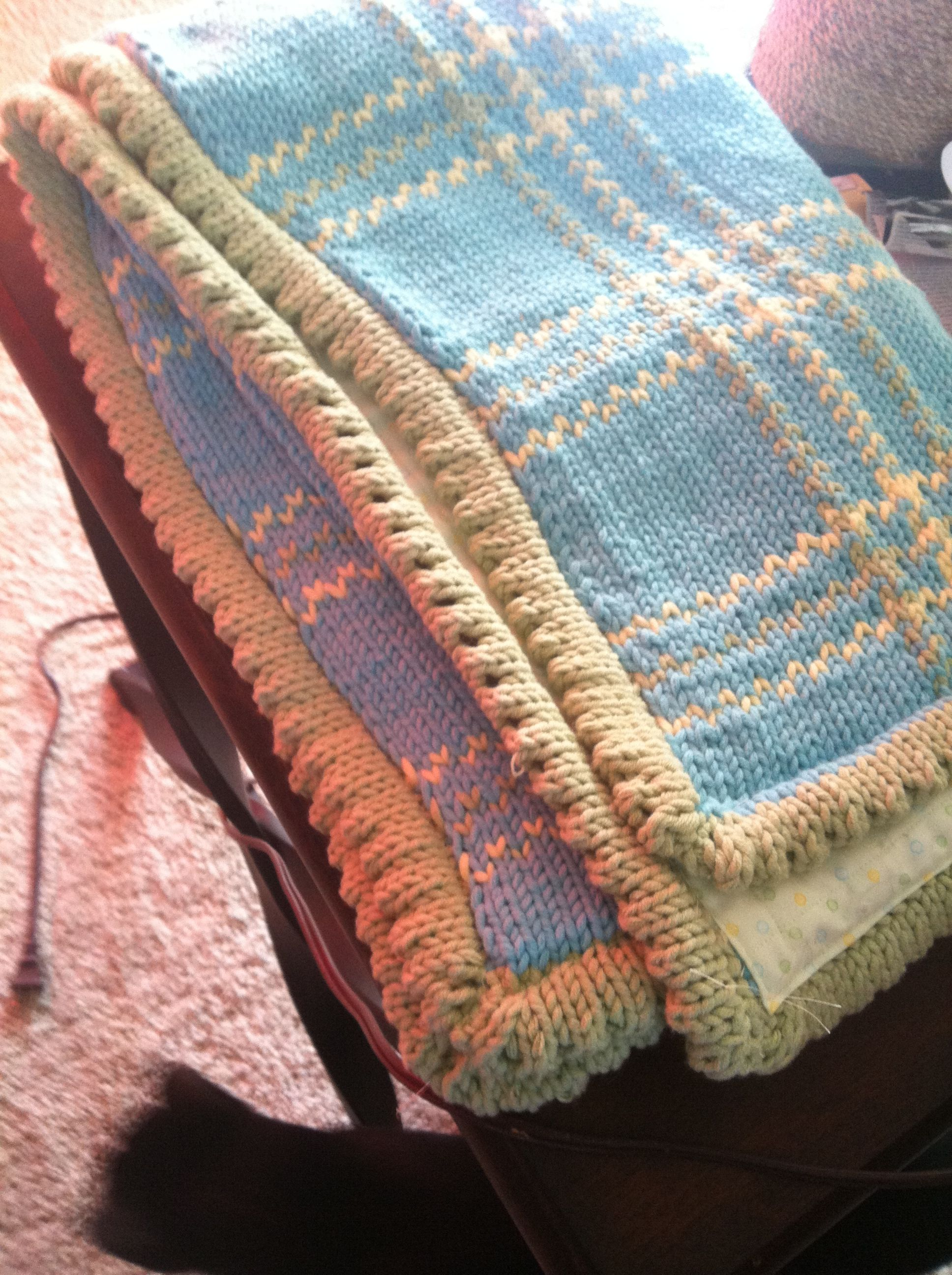 Knitting a plaid baby blanket i made havent found it a