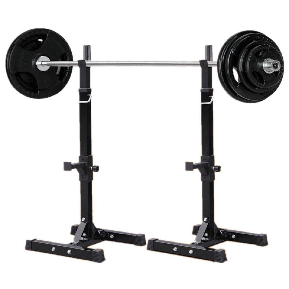 Goplus pair of adj standard squat stands 4267rack steel