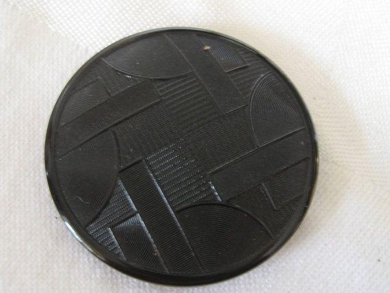 Large ANTIQUE Pop Art Modern Design Black Glass Button by abandc, $11.95