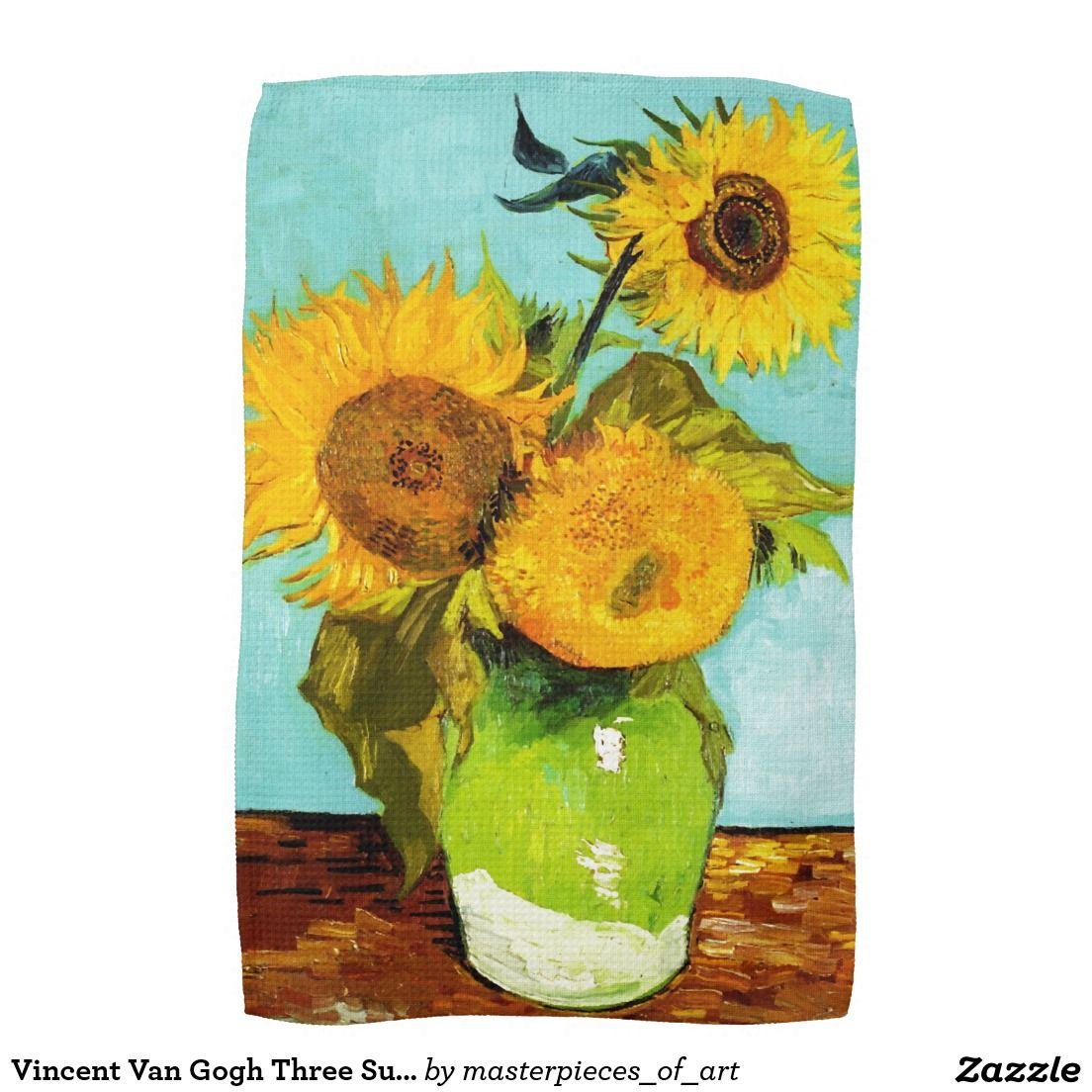 Vincent Van Gogh Three Sunflowers Hand Towel