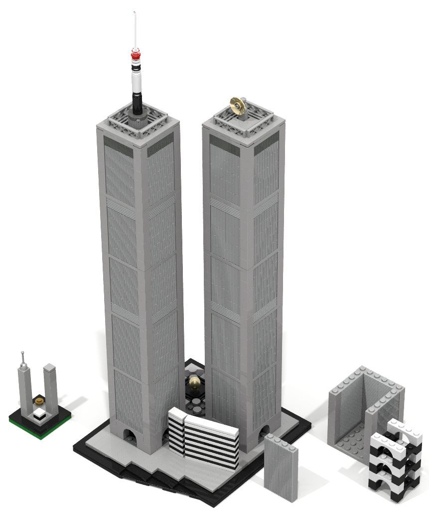 world trade center twin towers 1970 in new york city by architect minoru yamasaki lego. Black Bedroom Furniture Sets. Home Design Ideas