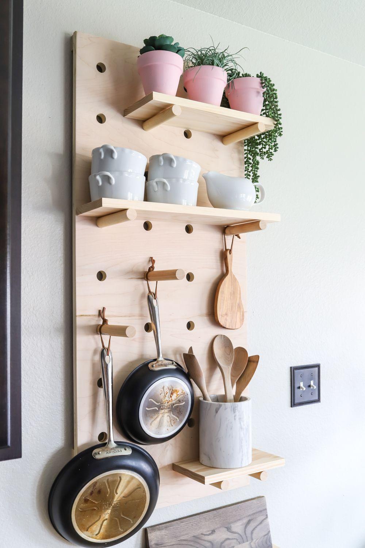 Oversized pegboard shelves pot rack shelves and drawers
