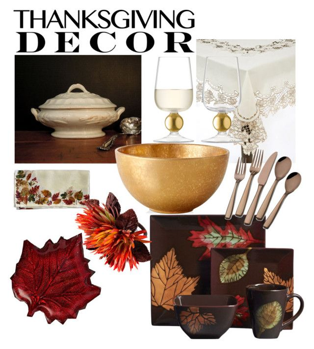 """""""family thanksgiving dinner"""" by lina-maria-lorenzo ❤ liked on Polyvore featuring interior, interiors, interior design, home, home decor, interior decorating, Hanley, Two's Company, Fraîche Maison and Saro"""