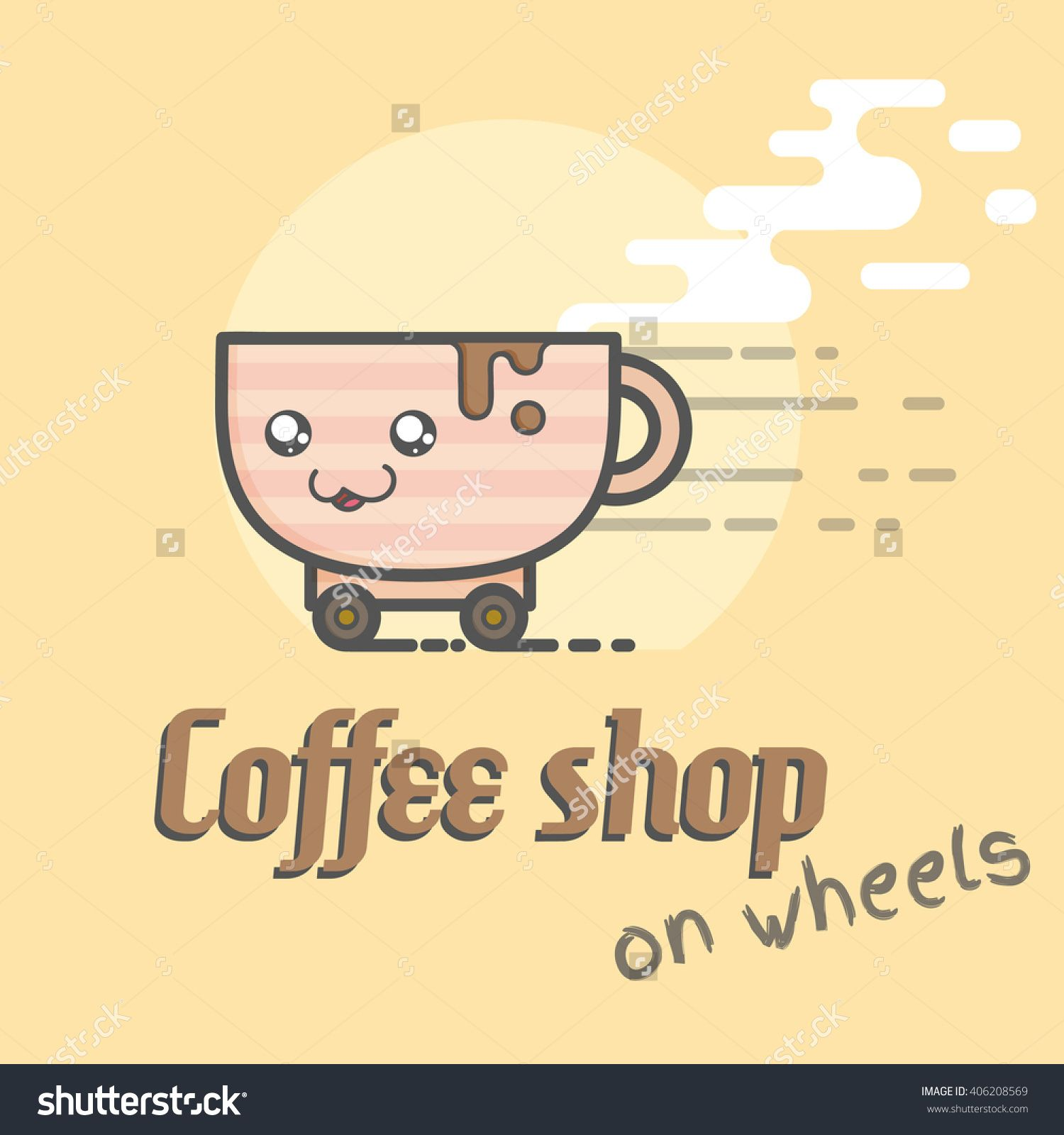 Cute Cup Of Coffee Logo For Coffee Shop On Wheels Stock