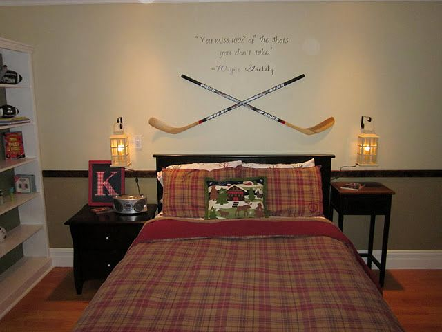 Hope my kid wants to play hockey because this idea is for Hockey bedroom ideas