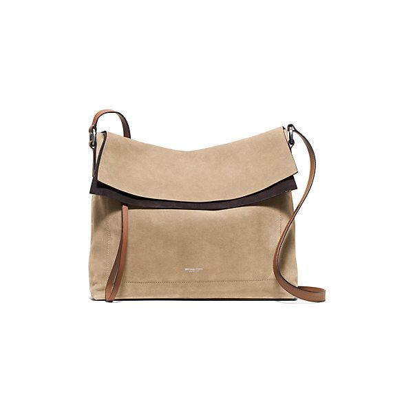 Michael Kors Sedona Large Suede Flap Messenger (37,530 MKD) ❤ liked on Polyvore featuring bags, messenger bags, foldover messenger bag, fold over messenger bag, boho messenger bag, foldable bag and bohemian bag