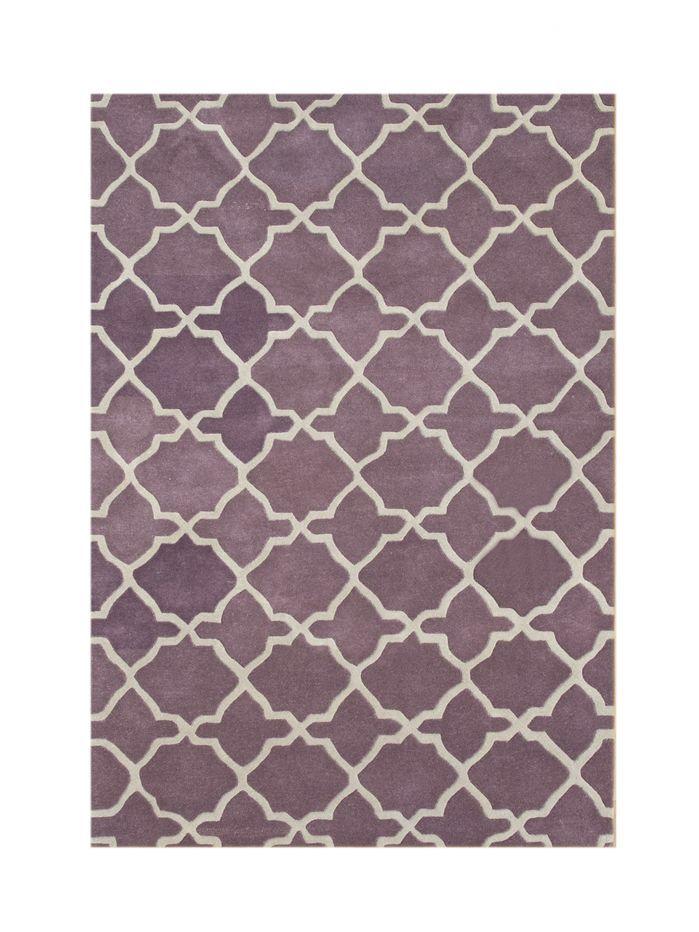 Wauna Hand Tufted Wool Purple White Area Rug White Area Rug