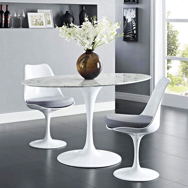 Lippa 54 Oval Shaped Artificial Marble Dining Table