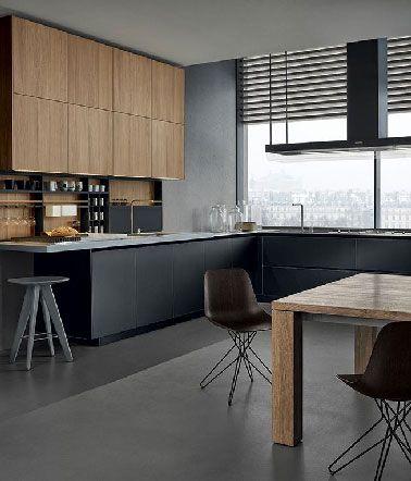 1000 images about cuisine on pinterest cabinets modern kitchens and petite cuisine - Cuisine Noir Mat Et Bois