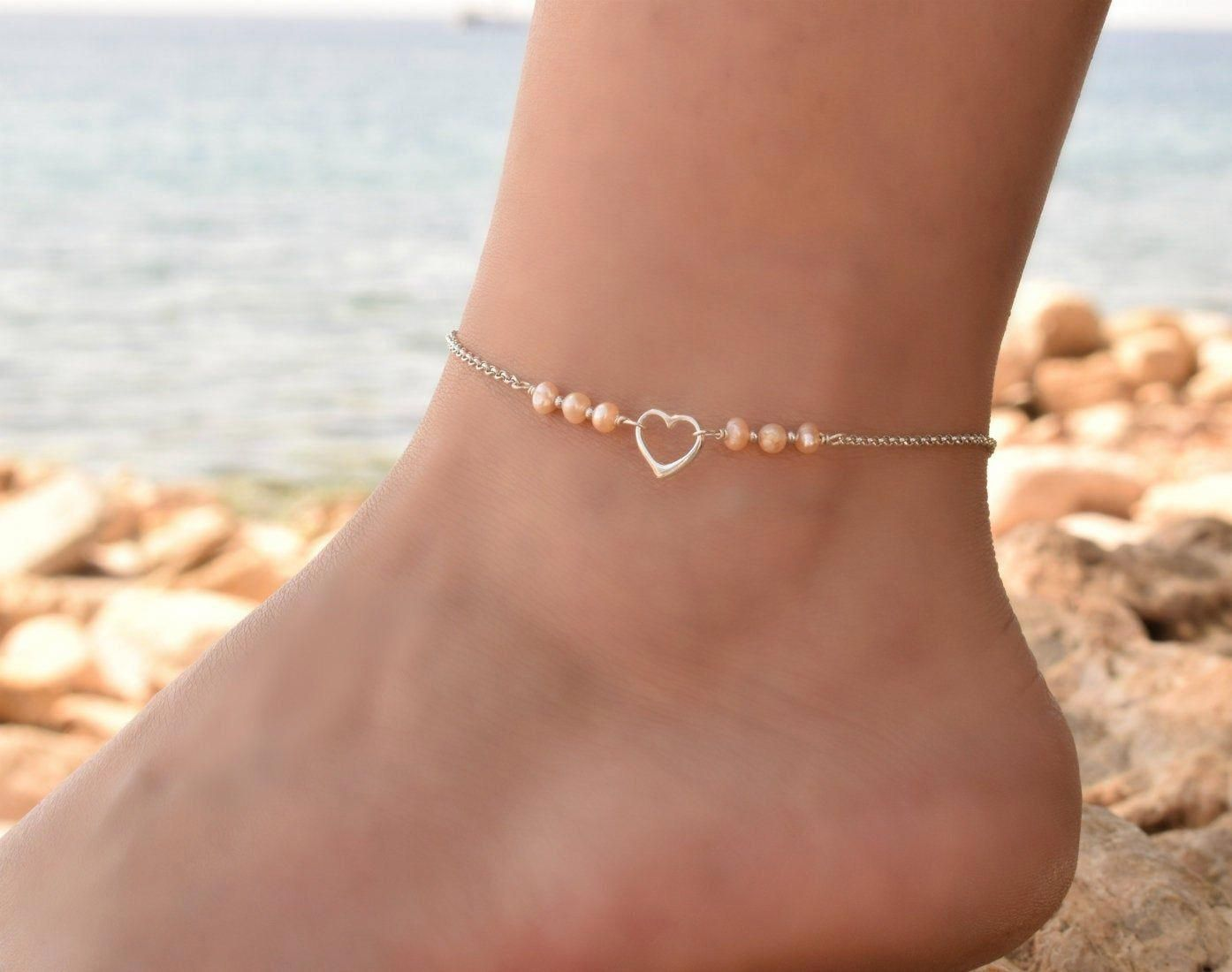 gold and rose gold delicate necklace with hearts Anklet in 925 sterling silver romantic boho anklet