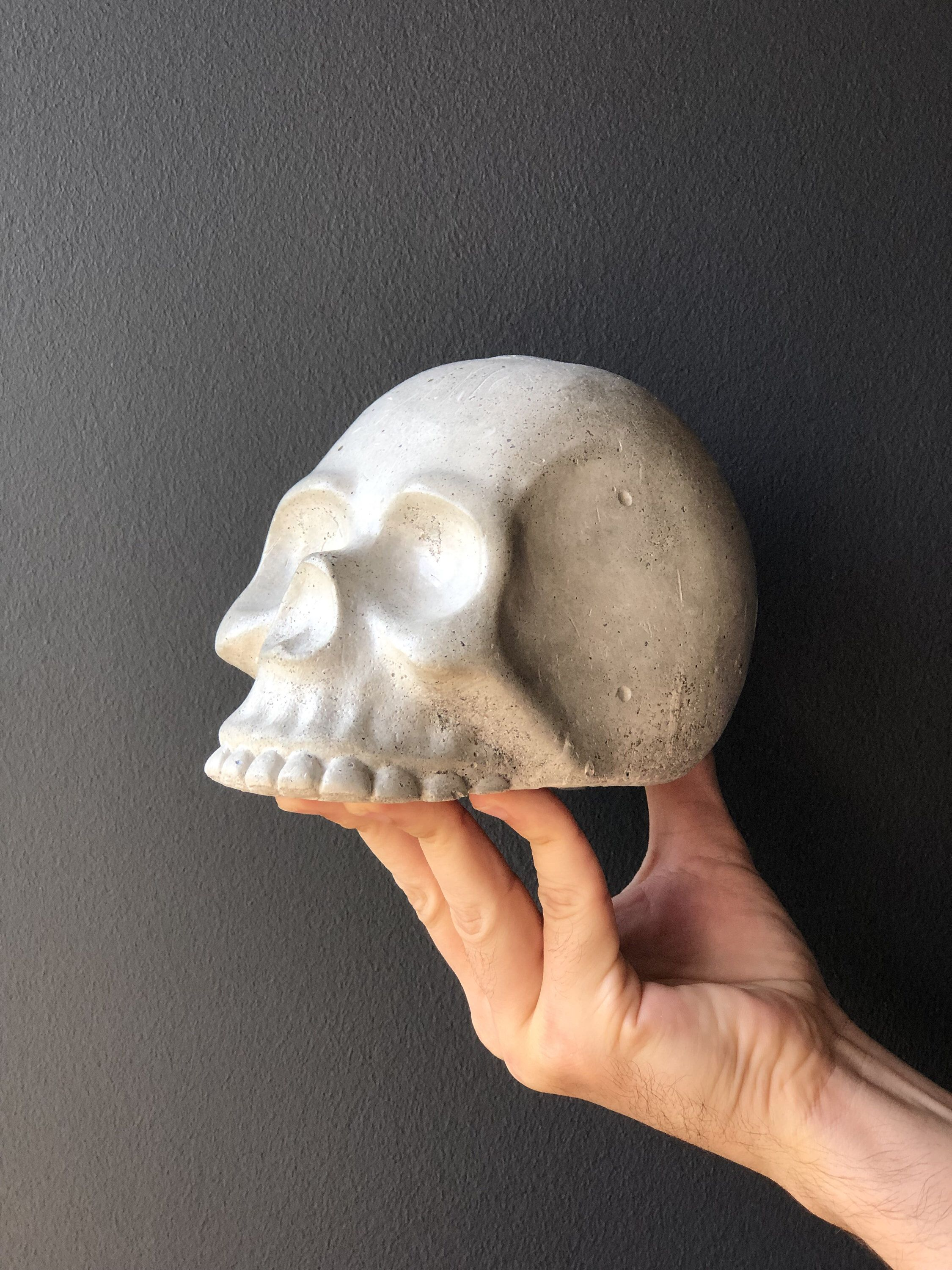Photo of Concrete Skull Bust, Gothic Home Decor, Skull Decor, Unique Concrete Decor, Decorative Statue, Concrete Art Decor, Gothic Gifts, Shakespeare