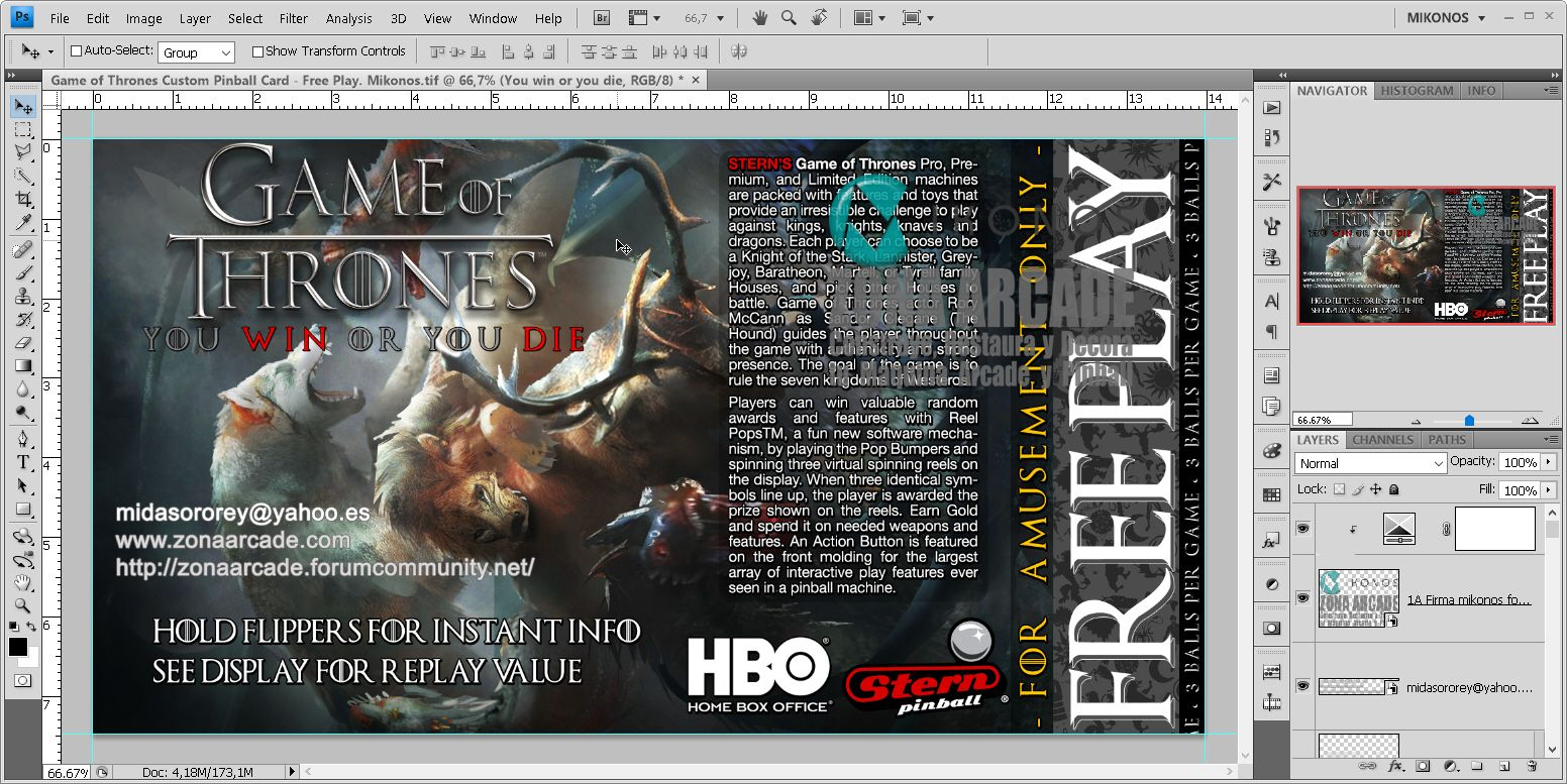 Game Of Thrones Custom Pinball Card - Free Play