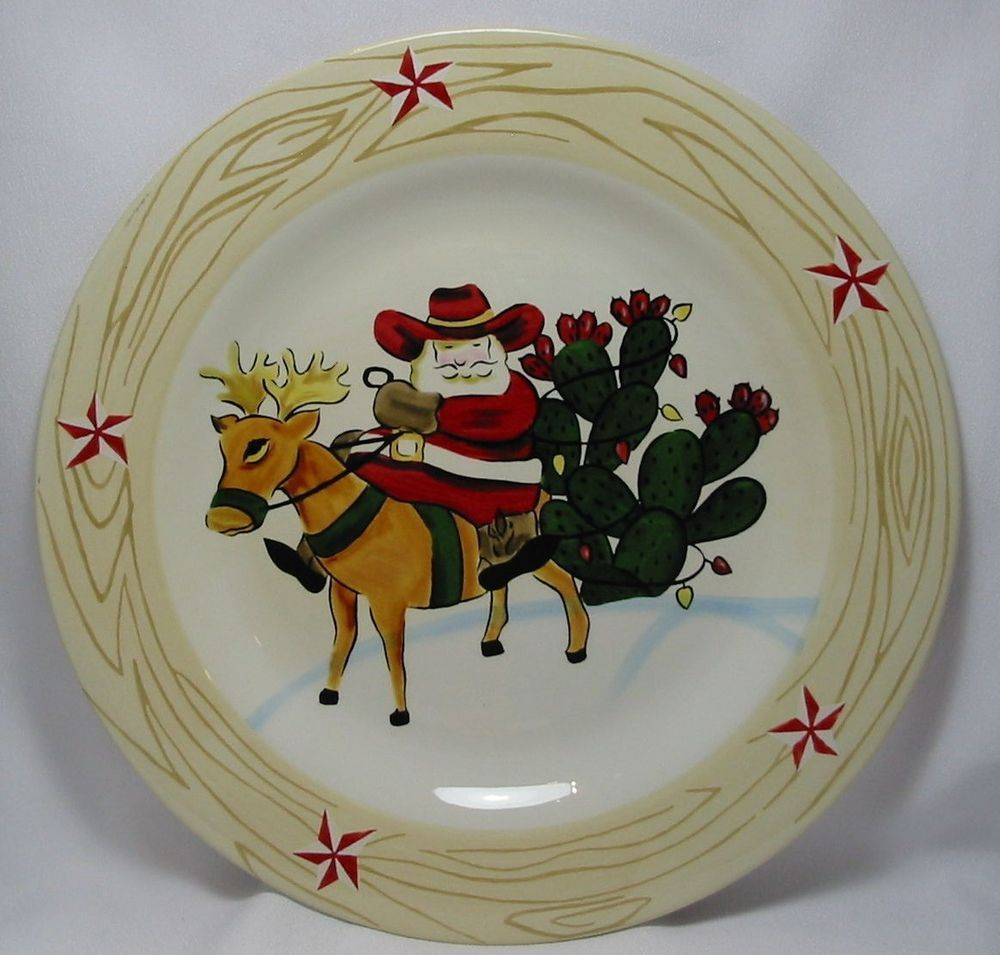 Texas Christmas Plate Santa Claus Riding His Reindeer Prickly Pear Cactus 11  #HolidayMarket & Texas Christmas Plate Santa Claus Riding His Reindeer Prickly Pear ...