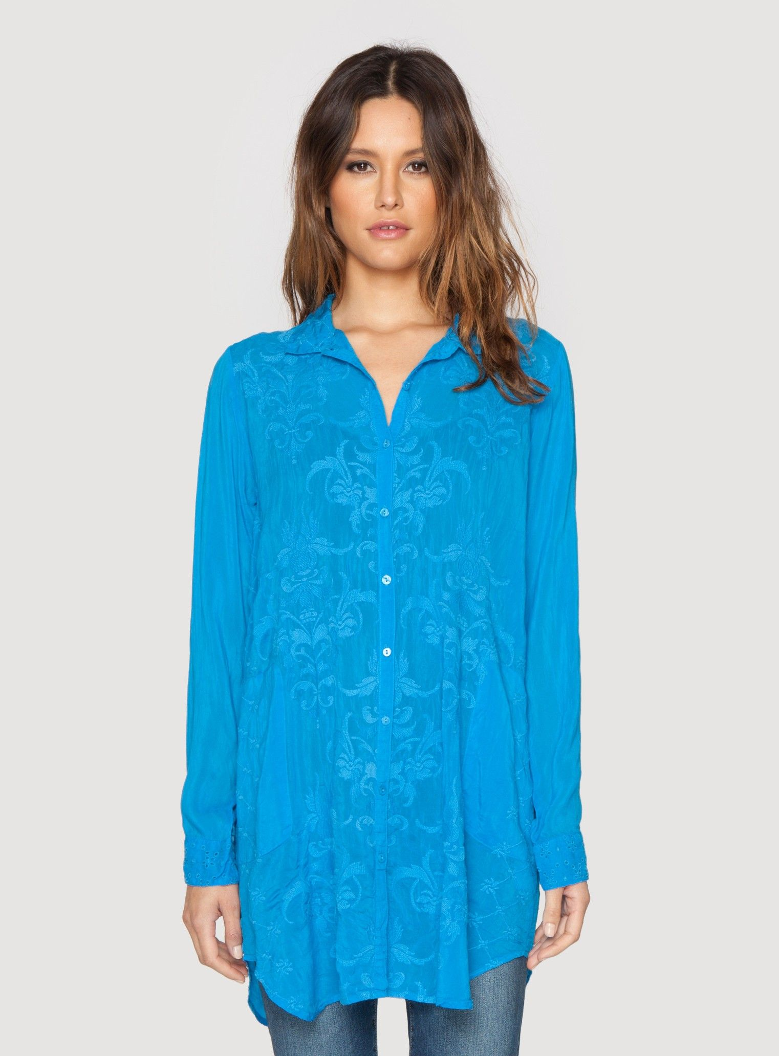 fbdfdc07417 Johnny Was Clothing Plus Size Issy Button Down Blouse in Cobalt Blue ...