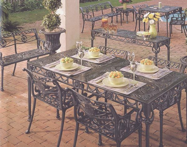 Garden And Patio Furniture, Cast Aluminum Patio Garden Furniture Dolphin 5  Piece Dining Set These