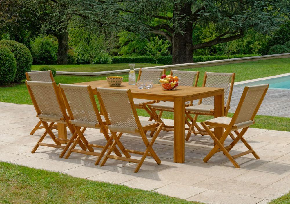 Salon De Jardin Table Malang 8 Chaises Kuta En Teck Teck Chaise Et Table De Jardin