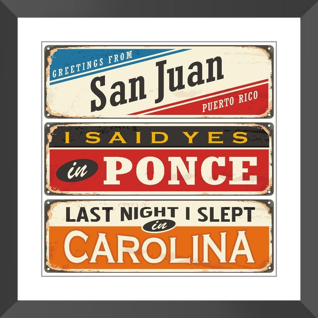 Puerto Rican Cities Retro Tin Sign Framed Print Pinterest Puerto