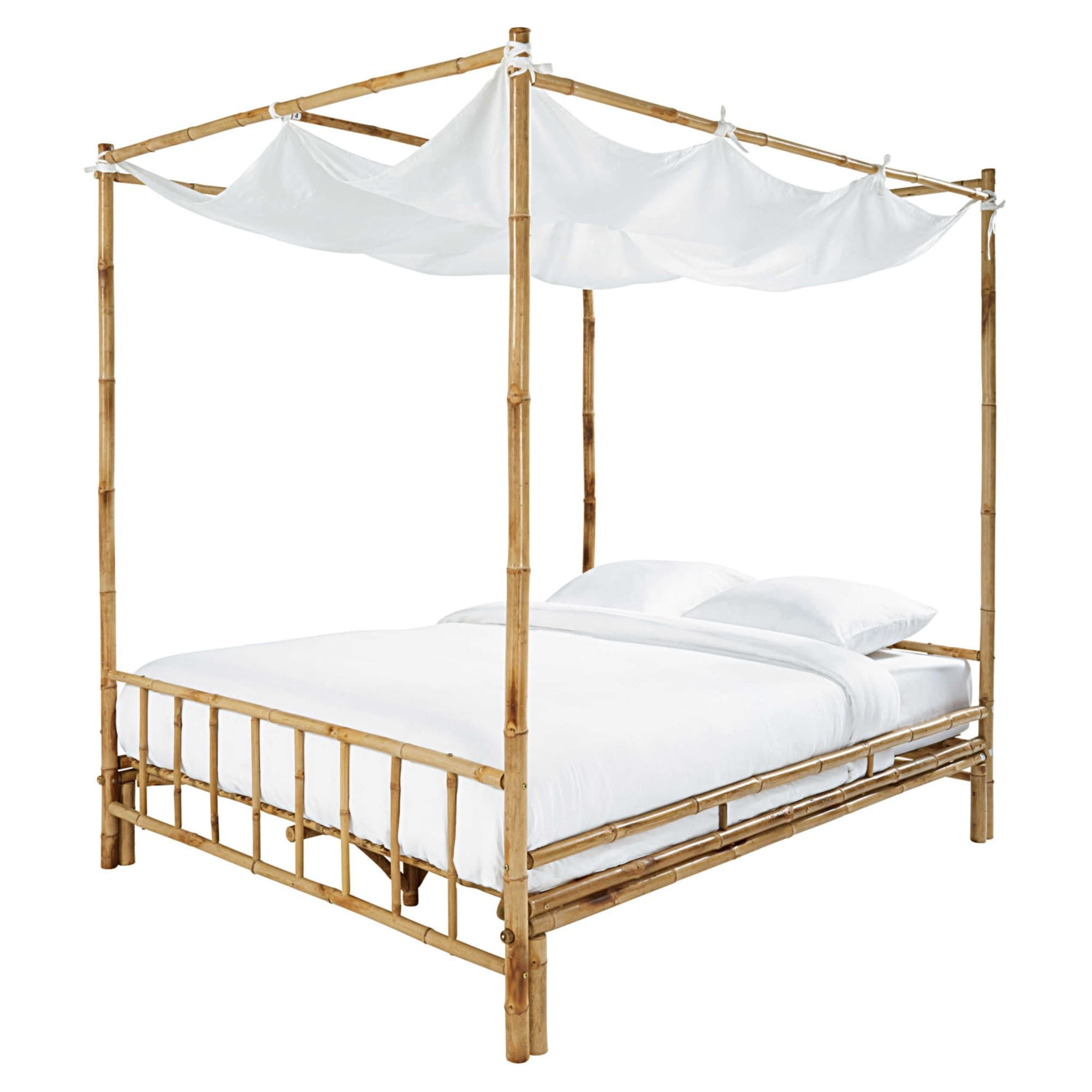 Bamboo And White Fabric 160 X 200 Four Poster Bed Coconut Maisons Du Monde Four Poster Bed Four Poster Bamboo Sheets Bedding
