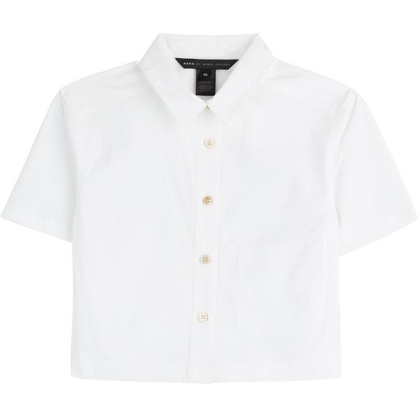 b2eee1af74c78 Marc by Marc Jacobs Stretch Poplin Cropped Button-Up ( 98) ❤ liked on  Polyvore featuring tops