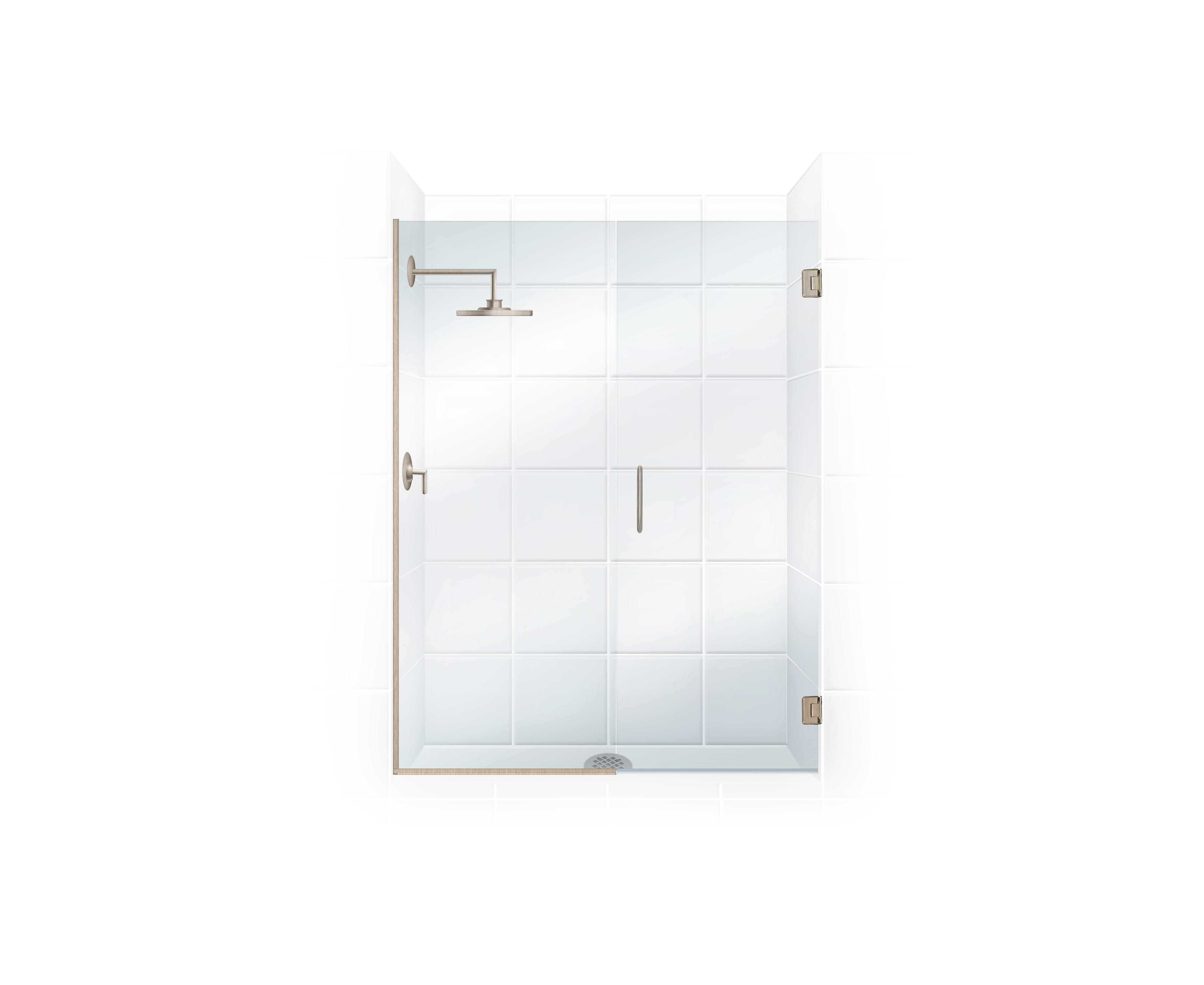 Brushed Nickel Value Line Frameless All Glass  Shower Door With Inline Panel www.coastalind.com