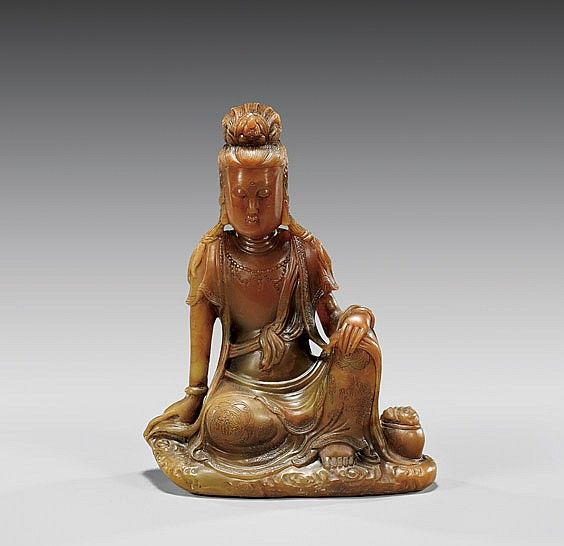 Carved Stone Crown : Carved soapstone guanyin 皂石雕觀音坐像 chinese hardstone